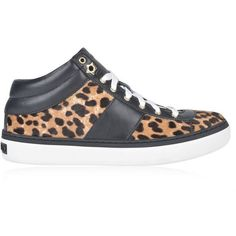 Jimmy Choo Bells Leopard Print Pony Trainers ($595) ❤ liked on Polyvore featuring shoes, sneakers, natural leopard, leopard print high top sneakers, jimmy choo sneakers, star shoes, leopard sneakers and leather sole shoes