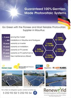 Reneworld Ltd: German-made Photovoltaic Systems. Call NOW 52 52 93 52