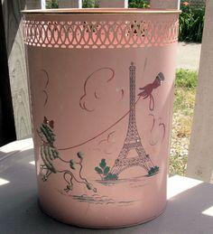 Vintage 1950's Pink Metal Paris French Poodle Eiffel Tower Bathroom Waste Basket