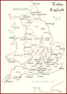 Map of Tudor England.  This comes in handy when reading books during this time. by ladyblueii