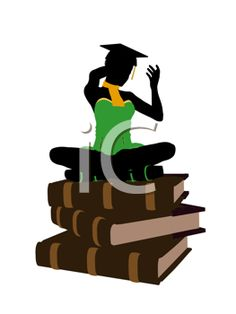 iCLIPART - Clip art of an African american graduate sitting on a pile of books silhouette on a white background