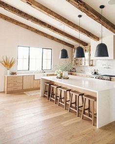 Home Decor Kitchen, Interior Design Kitchen, New Kitchen, Home Kitchens, Earthy Kitchen, White Oak Kitchen, Long Kitchen, Neutral Kitchen Designs, Danish Kitchen