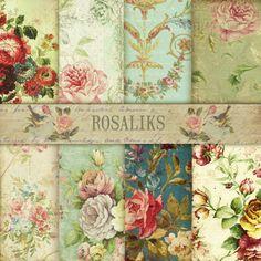 Victorian classic. Floral Digital Paper Pack, digital collage sheet, backgrounds collage vintage old grunge,floral wallpaper