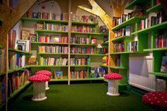 Childrens reading room for LOROS bookshop - Childrens Bookstore, Green Shelves, Library Design, Children's Library, Future Library, Dream Library, Library Ideas, Book Corners, Reading Corners