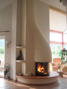 Clay sculpted fireplace.