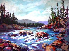 Acrylic on Canvas. Elbow Falls, near Bragg Creek, AB. SOLD at the Birthplace of BC Gallery Selling Paintings, Oil Paintings, Landscape Paintings, Landscapes, Bragg Creek, Mosaics, Watercolor Art, Walls, River
