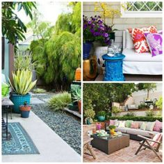 Another great way to add HIGH IMPACT on a budget to a patio space is to use BOLD COLOR! We tend to be more muted with colors in our home, the outside can handle brighter colors due the the unconfined spaces, bold colors found in nature, and the natural light that exists. It does not take much to add high impact, a few garden stools, bold pillows, and bright flowers go along way.