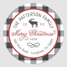 Shop Rustic Reindeer Round Holiday Return Address Label created by rileyandzoe. Christmas Return Address Labels, Return Address Stickers, Buffalo Check Christmas Decor, Rustic Christmas, Merry Christmas, Christmas Ideas, Tool Design, Custom Stickers, Reindeer