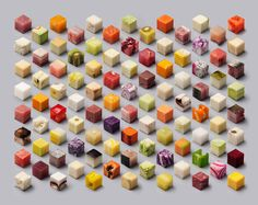 98 different raw foods cut into perfect 2.5 cm cubes by Dutch artists Lernert and Sander.