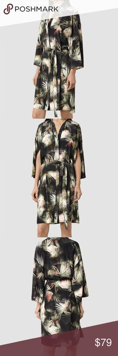 •All Saints• Mono Colada Dress Kimono style dress with breezy large sleeves and tie belted waist. 100% silk and never worn. All Saints Dresses Midi