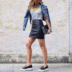 leather skirt / black slip on / denim jacket