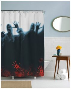 'The Walking Dead' shower curtain! This is kind of terrifying, but a really cool gift for TWD superfans!