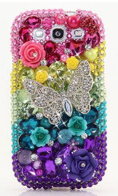 Rainbow Butterfly bling phone case cover design made for Samsung Galaxy (S3, S4, S5, S6 edge), iPhone 5 / 5S, iPhone 4/ 4s, Samsung Galaxy Note (2, 3, 4, 5) and most phone devices. http://luxaddiction.com/collections/3d-designs/products/rainbow-butterfly-design-style-453