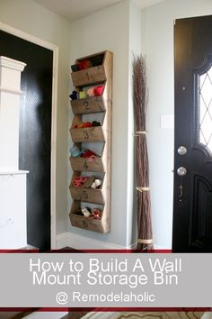 DIY Rustic Wall Storage Bins via Remodelaholic, this could work in the kitchen too for bread, fruit, lids, etc Wall Mounted Storage Bins, Hat Storage, Storage Ideas, Wall Mounted Shoe Rack, Door Storage, Ideas Para Organizar, Rustic Walls, My New Room, Home Organization