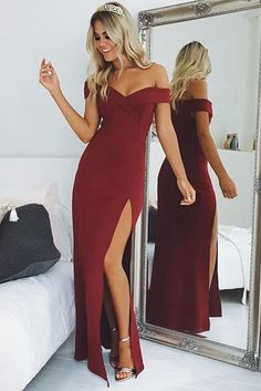 Sexy Off the Shoulder Black Mermaid Long Evening Dress with Slit