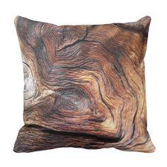 Dark Wood Bark Tree Print Throw Pillow