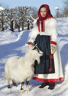 Skinnkläder för vinterbruk från Delsbo socken, Hälsingland.