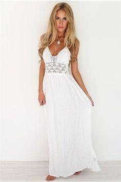 V-Neck Backless White Sleeveless Dress