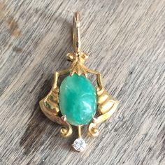 Jade and diamond conversion pendant by VictoriaVVintage on Etsy