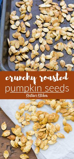 How to make perfectly crunchy roasted pumpkin seeds. An easy method for how to cook baked pumpkin seeds, including how to clean them. Plus ideas for seasoning your roasted pumpkin seeds - sweet and spicy. One of our favorite simple recipes. Easy Pumpkin Seeds, Perfect Pumpkin Seeds, Homemade Pumpkin Seeds, Toasted Pumpkin Seeds, Baking Pumpkin Seeds, Seasoned Pumpkin Seeds, Pumkin Seeds Baked, Roasting Pumpkin Seeds Recipe, Dining