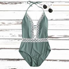 Women's One-Piece V-Neck Push-Up Swimsuit | Color: Green | TokiTop Backless One Piece Swimsuit, Women's One Piece Swimsuits, Cute Swimsuits, Monokini Swimsuits, Summer Suits, Summer Wear, Mode Shoes, Green Swimsuit, Bikini Swimsuit