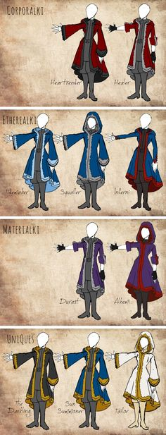 ©kitain.tumblr.com: Rough sketch interpretations of the kefta from the Grisha trilogy. They're all hooded and fur-lined, can be worn open or closed, with minor tailoring differences between specialties. Inferni have close-fitted sleeves to avoid catching fire, and Materialki and Healers can pin their sleeves up to work. I tried to take Russian design into consideration, but nothing with a hood looks Russian… Maybe I'll do a hoodless collared version, too.