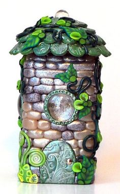 Fairy House: Shimmering Turquoise Jar Home | MiniWhimsies