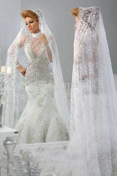 Luxury Jajja Couture Silver Rhinestones Beading High Neck Long Sleeve Arabic Mermaid Wedding Dresses Bridal Gown 2015 Vestido-in Wedding Dresses from Weddings & Events on Aliexpress.com | Alibaba Group