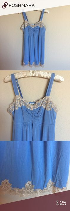 "Soma chemise Beautiful and super soft&comfortable fabric light blue&cream color lace detail chemise by Soma. Size Small. *the size tag has been removed.* Gently worn and in great condition. Armpit to armpit 16.5"" inches. Armpit to bottom 20"" inches. Please ask questions 💫 Soma Intimates & Sleepwear Chemises & Slips"