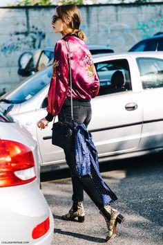Red bomber jacket satin / street style chic