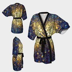 Kimono robe,deep blue robe,modern robe,golden kimono,Gift for her,Chiffon robe,short kimono,blue robe,gift for women,abstract,trendy,crystal