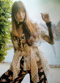 Jane Birkin in Ossie Clark Dress, 1969 vintage fashion designer icon of rock n roll vintage fashion late 60s early 70s style shirt top tunic sheer white pink black blue graphic print floral