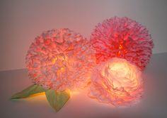 Coffee Filter Flower Illuminated Centerpiece