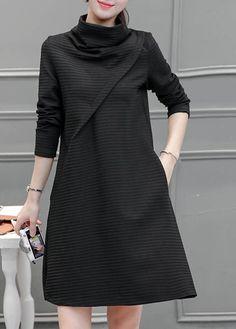 Long Sleeve High Neck Pocket Design Black Dress
