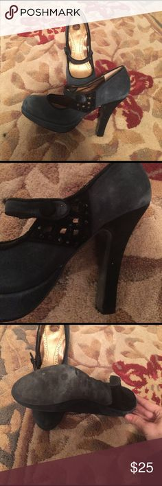 Navy &SlateBlue SAM EDELMAN Embellished Mary Janes Fits like a size 7 narrow but was unable to locate size on shoe. Navy and slate blue (or light navy?) suede Mary Jane style heel. Sam Edelman Shoes Heels