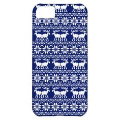 Ugly christmas sweater pattern navy blue iPhone 5C case