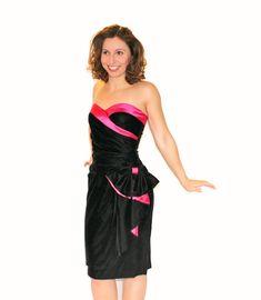 SALE Vintage Black Hot Pink Velvet Dress Bow by ChickClassique, $62.00
