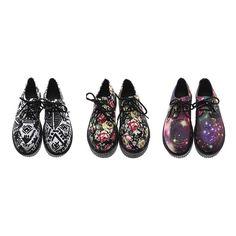 Women's Geometry Star Rose Pattern Lace Up Punk Goth Flat Platform Creeper Shoes
