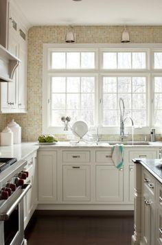 kitchen with beautiful Oceanside Mosaic Glass Tiles in Tessera Sandstone backsplash