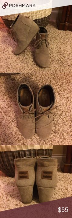 TOMS Suede Desert Wedges EUC! Only worn a few times. Taupe color, size 8. I'm normally a size 7.5-8, and these were a half size too big for me with wearing thin socks. Awesome ankle wedge boots...so comfortable! TOMS Shoes Ankle Boots & Booties