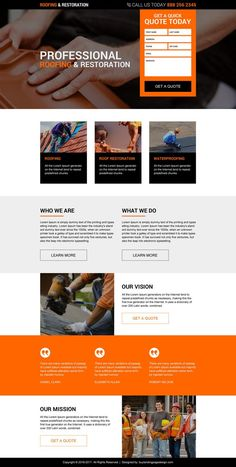roofing and restoration services responsive landing page design Website Design Layout, Web Design Tips, Web Layout, Design Ideas, Landing Page Inspiration, Website Design Inspiration, Layout Inspiration, Construction Website, Construction Design