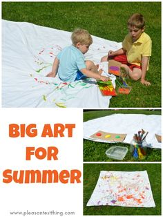 Summer Painting for Kids: Sheet on the Lawn | You can get discounted art supplies here: http://www.discountschoolsupply.com/community/Welcome.aspx?welcomeid=144utm_source=Affiliateutm_medium=weblinkutm_campaign=Lnkshres=202244200000FA