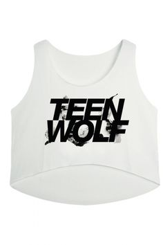 White Teen Wolf Printed High Low Casual Womens Crop Top - PINK QUEEN