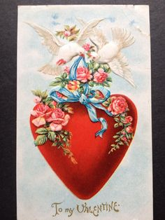 Antique Valentines Circa 1909 Embossed Postcard Heart and Doves | eBay