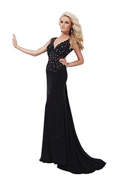Tony Bowls Pageant Dress Beaded with Open Back TBC114C34, Black, 4