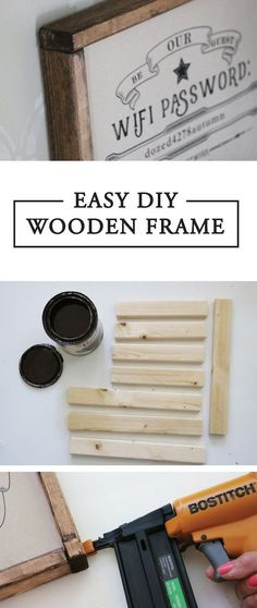 This DIY wooden frame is really easy (and really cute)! I created it because I wanted to create a wifi password sign for my guests (I'll be sharing the free editable printable very soon). A few months ago, I made this large wooden sign (to see the full tu Diy Pallet Projects, Diy Projects To Try, Woodworking Projects, Woodworking Articles, Woodworking Furniture, Woodworking Plans, Diy Simple, Easy Diy, Wooden Crafts