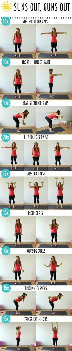 Here's your second workout! This will tone every angle of your biceps, triceps, shoulder, and upperback to give you beautifully sculpted arms Informations About Suns Out, Guns Out – Arm Workout Fitness Workouts, At Home Workouts, Fitness Tips, Fitness Motivation, Fitness Weightloss, Arm Workouts, Workout Diet, Arm Exercises, Flexibility Exercises