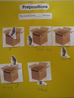 Preposition Activity -- Place the mouse somewhere in relation to the box, and then label with a preposition.