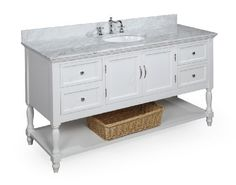 Beverly 60-inch Bathroom Vanity (Carrera/White): Includes a White Cabinet, Soft Close Drawers, a Marble Countertop, and a Single Ceramic Sink by Kitchen Bath Collection, http://www.amazon.com/dp/B0094HYXL2/ref=cm_sw_r_pi_dp_LLQQqb0BYDD71
