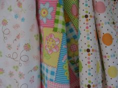 Pretty Pink Flowers Checks Bugs and Dots set of 3 by BAGSbyMartha, $28.00